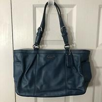 Coach Teal Blue Leather Shoulder Bag Tote Purse F17721 Photo