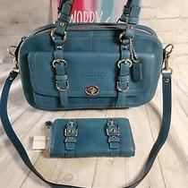 Coach Teal Buckle Detail Handbag With Matching Wallet - Never Used - Set of 2  Photo