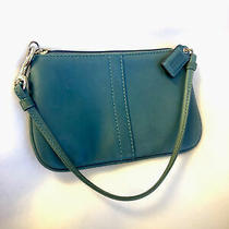 Coach Teal Leather Small Wristlet Coin Wallet Purse With Strap & Id Tag Photo
