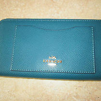 Coach Teal Pebbled Leather Zip Around Accordian Wallet - Nwt Photo