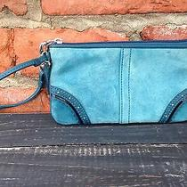 Coach Teal Suede Leather Blue Wristlet Great Gift Patent Leather Phone Case Gift Photo
