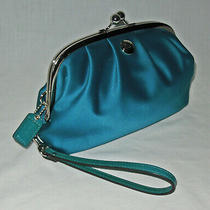 Coach Teal Turquoise Blue Satin Wristlet Purse Kiss Lock Used Once Photo