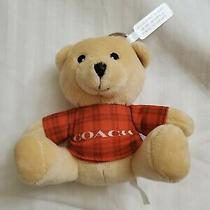 Coach Teddy Bear Plush Bag Charm or Key Chain Orange Plaid Logo Print Shirt New Photo