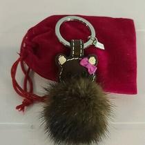 Coach Teddy Bear With Bow Keychain Leather Mink Fur  Keyring Key Fob Like New  Photo