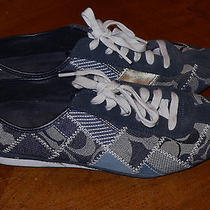 Coach Tidy Women's Low Top Canvas Sneaker Size 9 Blue Denim Women Sneakers Shoe Photo