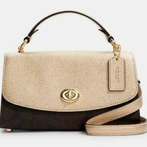 Coach Tilly Satchel Signature Metallic Gold Crossbody Shoulder Bag Handbag Purse Photo