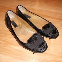 Coach Tipper Black Patent Leather Flats W/ Bow Detail Size 6 Photo