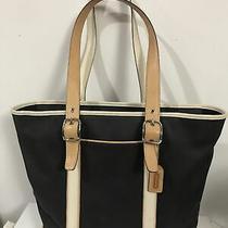 Coach Tote Bag Leather Canvas Trim Navy Color in Excellent Condition no.lsl-5144 Photo