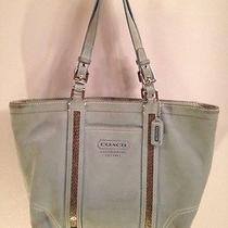 Coach Tote Beaded Collection Light Blue Suede J05j - 8b31 Photo
