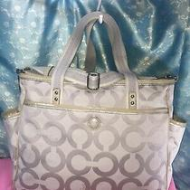 Coach Tote Carry Bag Purse Handbag Shoulder Bag Beige Khaki Canvas & Tan Leather Photo