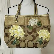 Coach Tote Purse Tan With Yellow Gold and White Flowers Photo
