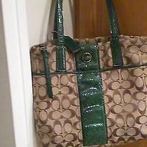 Coach Tote-Signature Fabric With Green Patent Leather Photo
