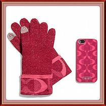 Coach Touch Tech Gloves & Iphone 5/5s Case Gift Set Scarlet Red/pink F67242 Nib Photo