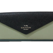 Coach Tri-Color Wallet 12122 Leather Blue Navy Green Long Women 'S Mens Photo