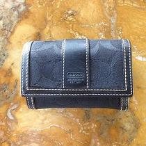 Coach Tri Fold Black Leather/cloth Wallet Photo