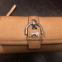 Coach Trifold Beige Tan Buckle Clutch Wallet  Photo