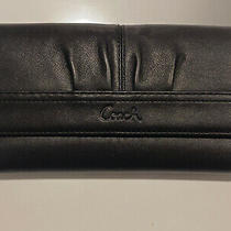 Coach Trifold Leather Wallet Solid Black Multicompartment Button Shut 7.75x4 Photo