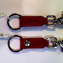Coach Trigger Snap Key Fob Key Ring - 7212 - Red Leather/silver Photo