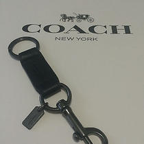 Coach Trigger Snap Valet Black Leather Key Ring Keychain Fob Photo