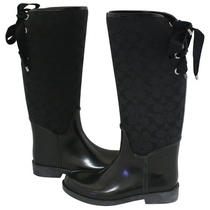 Coach Tristee Black Rubber and Logo Rain Boots 5 New Photo