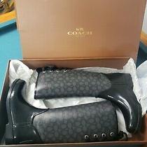 Coach Tristee Black Signature Canvas Lace Up Corset Rain Boots Us 9 Photo