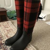 Coach Tristee Lace Up Corset Logo Red/black Plaid Rain Boots Size 8 Photo