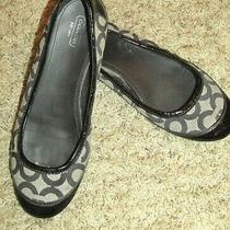 Coach True Black/gray Signature Logo Textile Ballet Flats Shoes 9.5b Great Con Photo