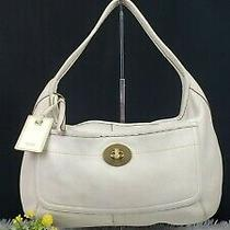Coach True Vintage Ergo Pebbled Off White Leather X-Large/wide Hobo Bag Preowned Photo