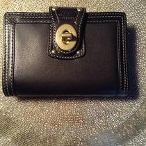 Coach Turnlock Black  Leather  With  Adress Book  and Pen  / Agenda 3x5 Photo