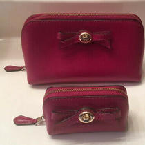 Coach Turnlock Bow Cosmetic Case Set F64651 I/m Cranberry Fuchsia Large & Small Photo