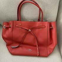 Coach Turnlock Refined Pebble Leather Tote Purse Bag Photo