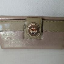 Coach Turnlock Snap Shimmer Tan Gold  Wallet Clutch Pink Interior Leather Photo