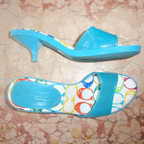 Coach Turquoise Rubber Mules Slipper Heels Sz 7 Photo