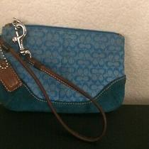 Coach Turquoise Signature Print Wristlet Has Suede Trim Photo