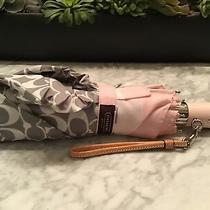 Coach Umbrella - Pink & Grey W/ Protective Sleeve and Leather Wrist Strap Photo