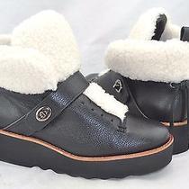 Coach 'Urban' Women's Black Leather Shearling Lined Platform Sneaker Size 7.5 M Photo