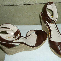 Coach Veronica Brown Leather Platform Wedge Sandals Size 8m Used Once Photo