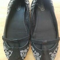 Coach Verra Womens Ballet Flats Black Leather Canvas Shoes Size 8 M  Photo