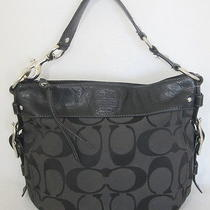 Coach Vintage Black Carly Signature & Leather Shoulder Handbag Silver Hardware Photo