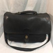 Coach Vintage Black Leather Briefcase Shoulder Messenger Bag Photo