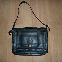 Coach Vintage Black Mens Briefcase Satchel Messenger Bag Leather  Photo
