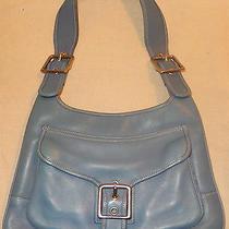 Coach Vintage Blue Leather Buckle Pocket  Retro Hippie Hobo Shoulder Bag 9340 Photo