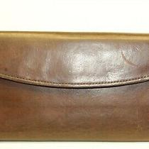 Coach Vintage Brown Leather Flap Front Slim Clutch Card Holder Wallet Photo