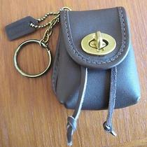 Coach Vintage Brown Leather Turn Lock Mini Back Pack Key Ring Miniature Authent  Photo