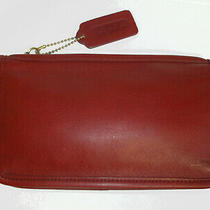 Coach Vintage Chunky Case 7165 Dark Blood Red Ticking Lining Usa Cosmetic Pouch Photo