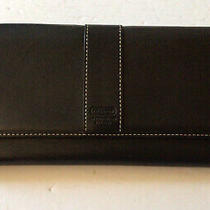 Coach Vintage Hampton Black Leather Trifold Clutch Wallet Photo