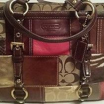 Coach Vintage Holiday Patchwork Shoulder Tote Bag Photo