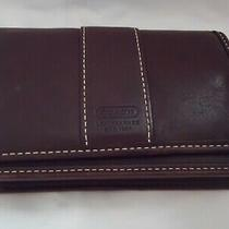 Coach Vintage Mahogany Brown Leather Small Wallet Purse Key Chain Leatherware Photo