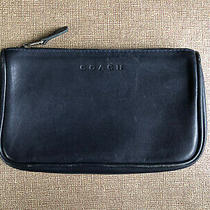 Coach Vintage Navy Dark Blue Leather Legacy Cosmetic Makeup Pouch Clutch Purse Photo