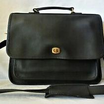 Coach Vintage Near Mint Black Leather Colebrooke Briefcase Messenger Bag 5181 Photo